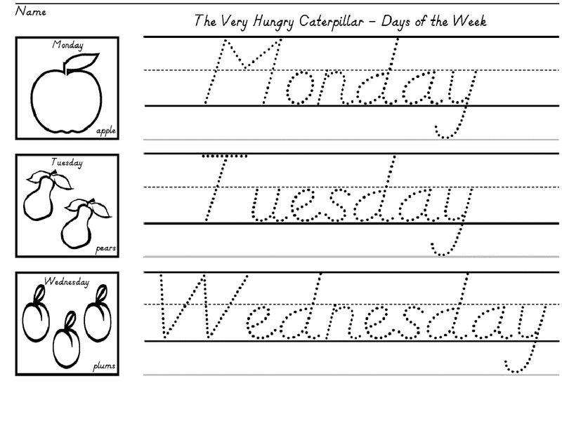 Writing Worksheets For Kids Days Of Week