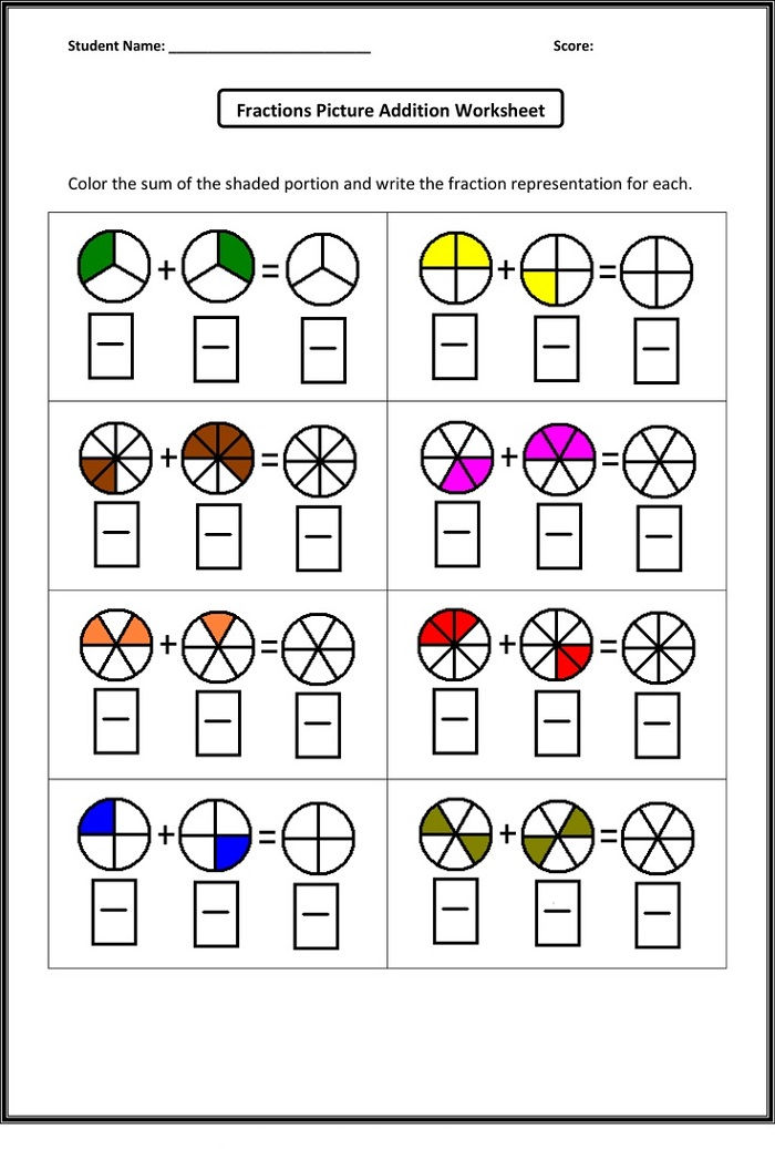 Year 2 Math Worksheets Fraction