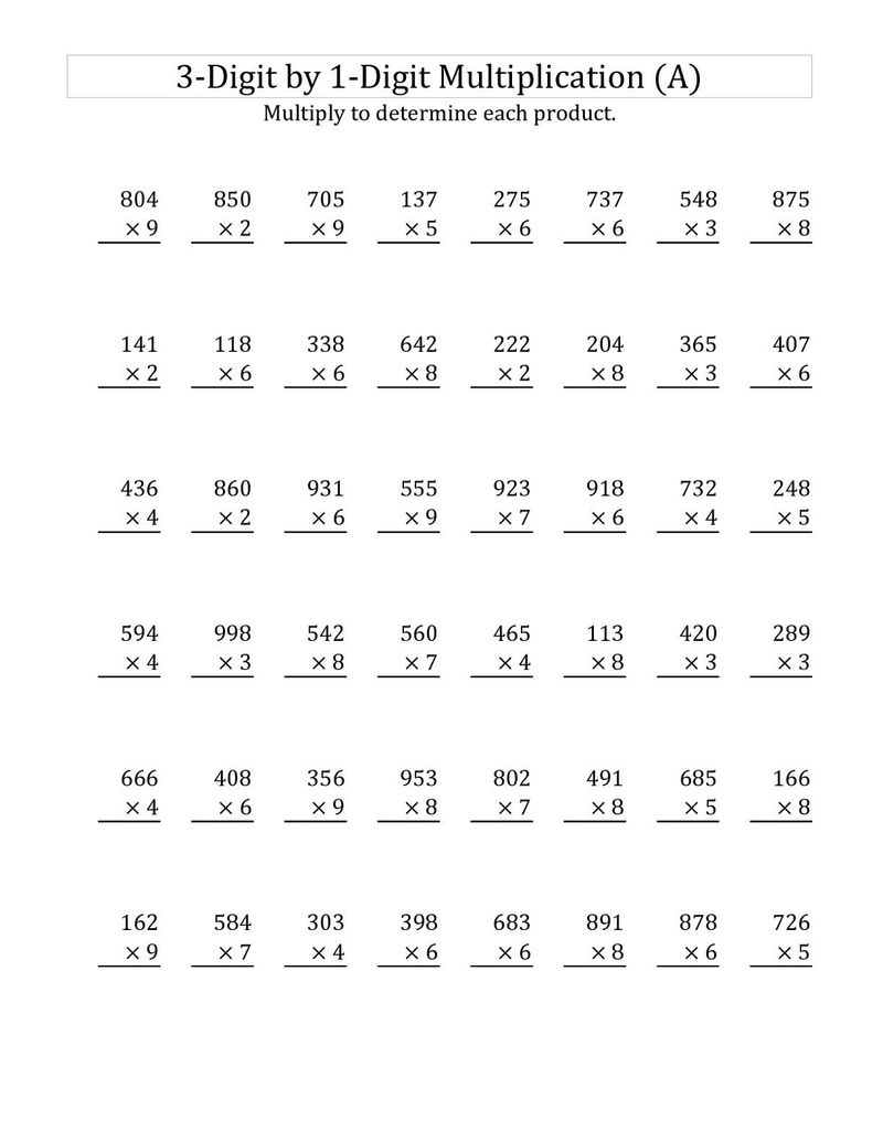Year 3 Maths Worksheets Multiplication