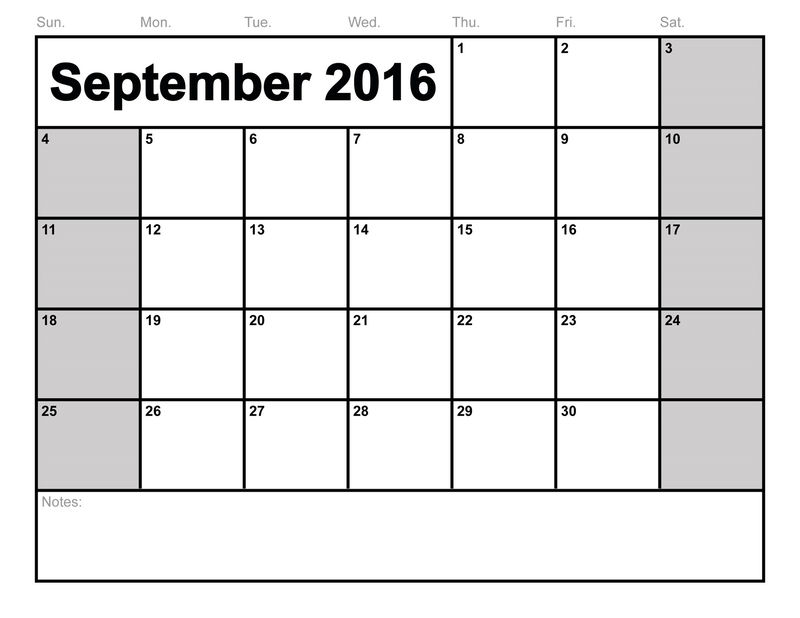Yearly Calendar 2016 Printable For September