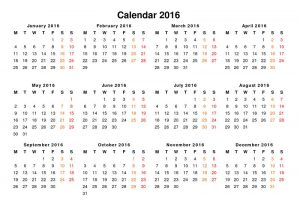 Yearly calendar 2016 printable nice