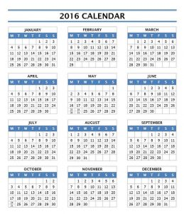 Yearly calendar 2016 printable template