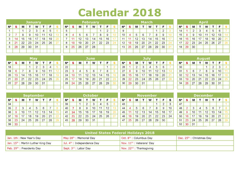 Yearly Calendar 2018 Printable Template