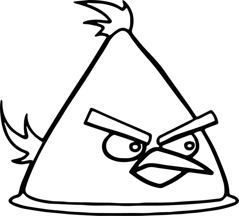 Yellow Angry Bird Vector Coloring Page