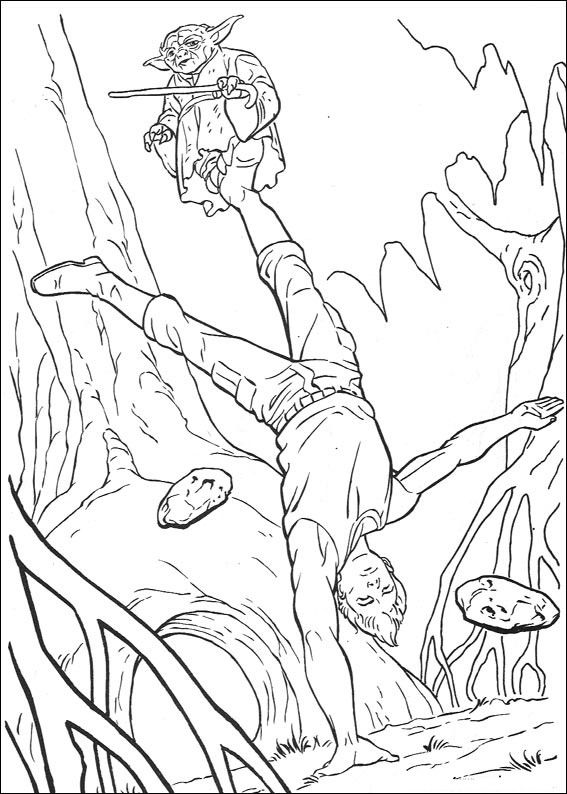 Yoda Training Luke In The Swamp Star Wars Coloring Pages