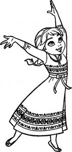 Young elsa dance coloring page
