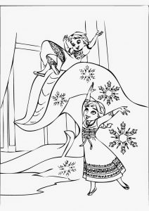 Young elsa playing with anna coloring page