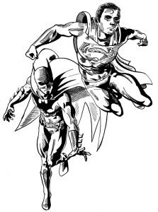Young superman and batman superhero coloring pages