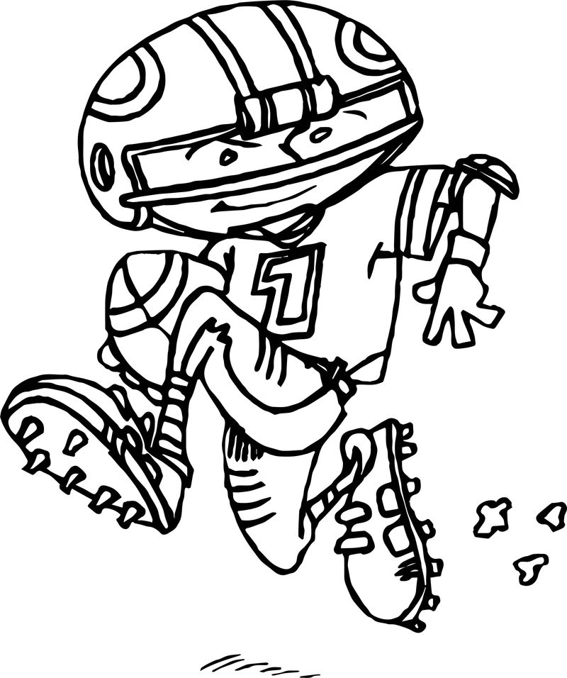 Youth Man Playing American Football Coloring Page