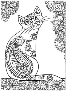 Zen cat coloring pages easy