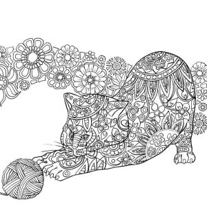 Zen cat with yarnball adult coloring page