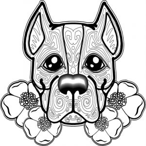 Zen flowers dog coloring pages for adults