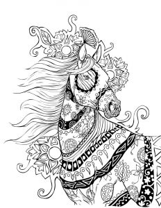 Zen horse coloring page for adults