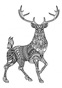 Zen male reindeer coloring page for adults