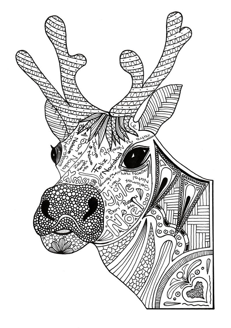 Zen Reindeer Christmas Coloring Pages For Adults