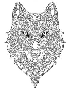 Zen wolf coloring page for adults