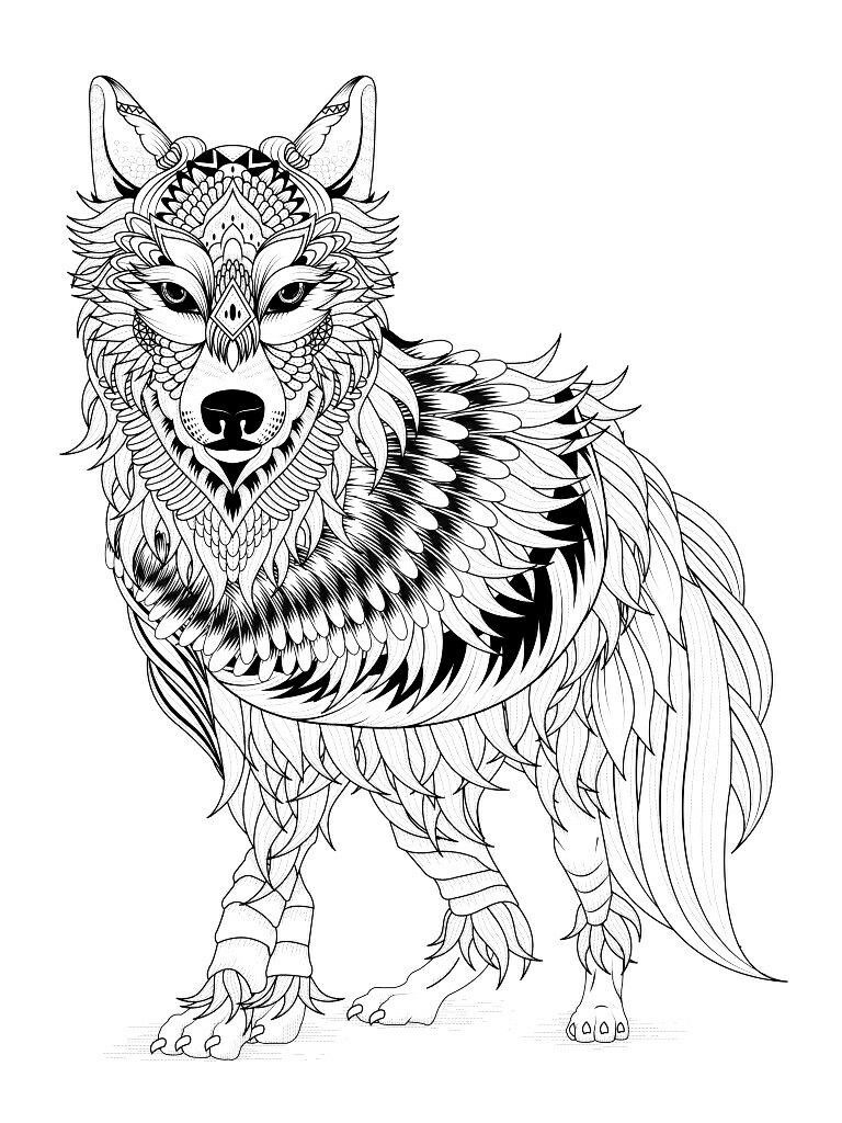 Zen Wolf Coloring Pages