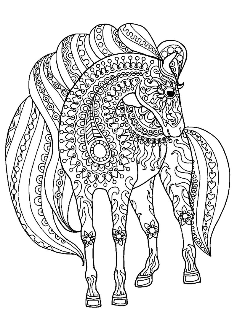 Zentangle Horse Coloring Pages