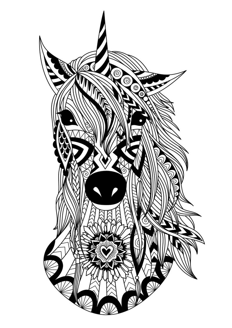 Zentangle Unicorn Head Coloring Pages
