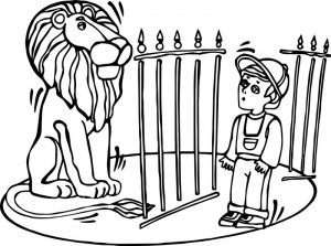 Zoo lion and child coloring page