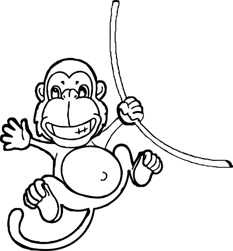 Zoo Tropical Happy Monkey Coloring Page