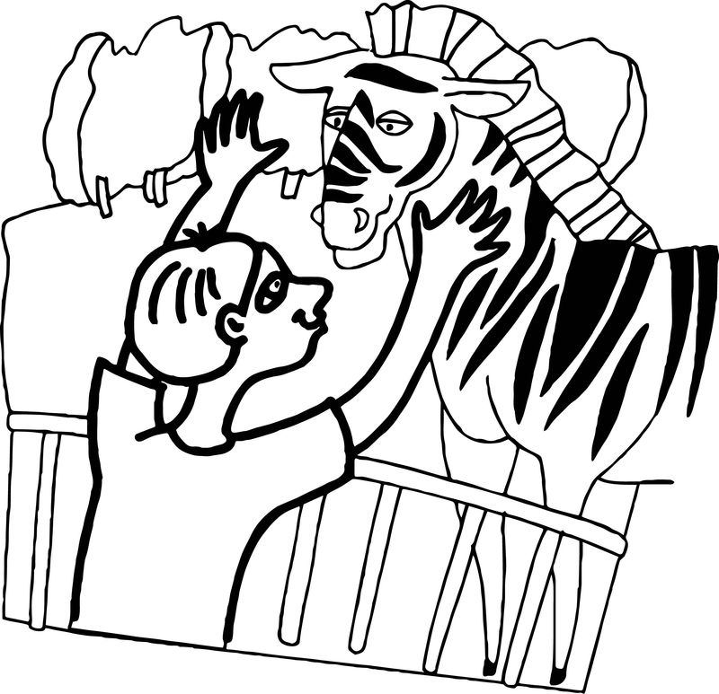 Zoo Zebra Child Coloring Page