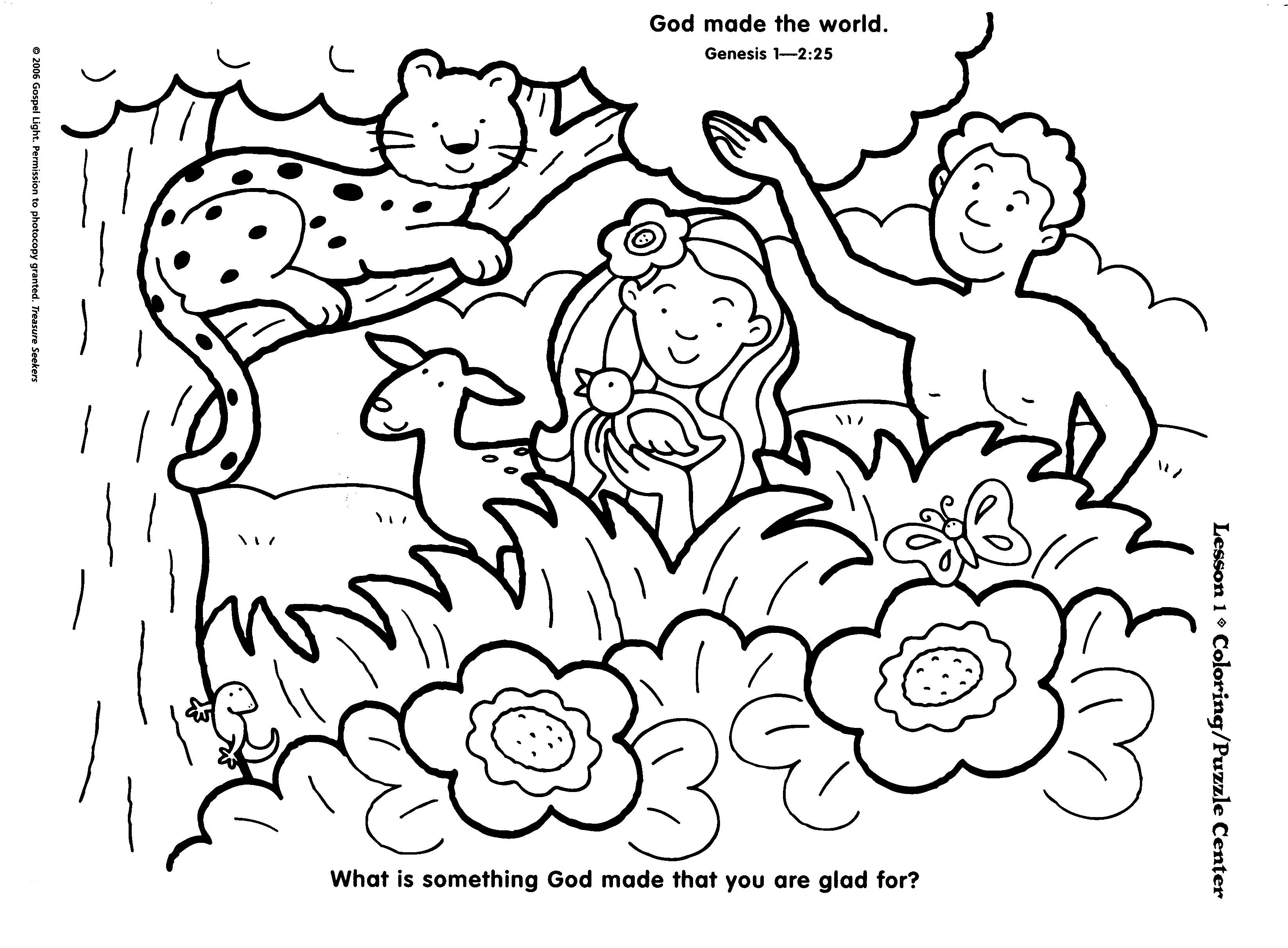 Creation Coloring Pages: God Made the Animals, Fish, Birds | 2425x3295