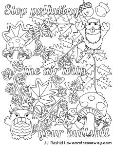 Anger Management Coloring Pages - Stop Polluting the Air with Your Bullshit Adult Coloring Page Screw You as Hole Free Coloring Pages Es From the Book Screw You as Hole Available 17k