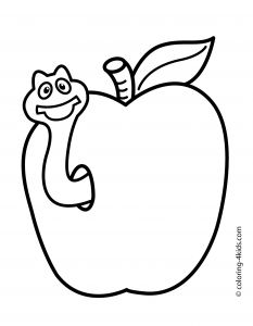 Apple Printable Coloring Pages - Cute Apple Coloring Pages Inspirationa Apple with Worm Fruits Coloring Pages Simple for Kids Printable 16l