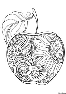 Apple Printable Coloring Pages - Interesting Apple Drawing with Sunflower Doodles Inside 3o