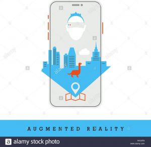 Augmented Reality Coloring Pages - Smartphone and City with Augmented Reality Concept Icon Flat Design and Thin Line Style Vector 10s