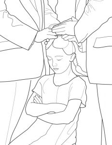 Baptism Coloring Pages - A Primary Coloring Page From the Lds Church A Girl is Confirmed Following Baptism 4e