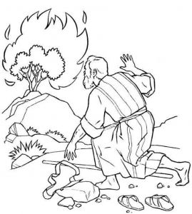 Baptism Coloring Pages - the Incredible Moses Burning Bush Coloring Page to Encourage In Coloring Images 20p