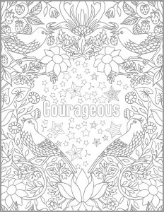 Breast Cancer Coloring Pages - Courageous Positive Word Coloring Book Printable Coloring 9j