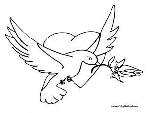 Build A Bear Coloring Pages - A Dove Carrying A Rose 6e
