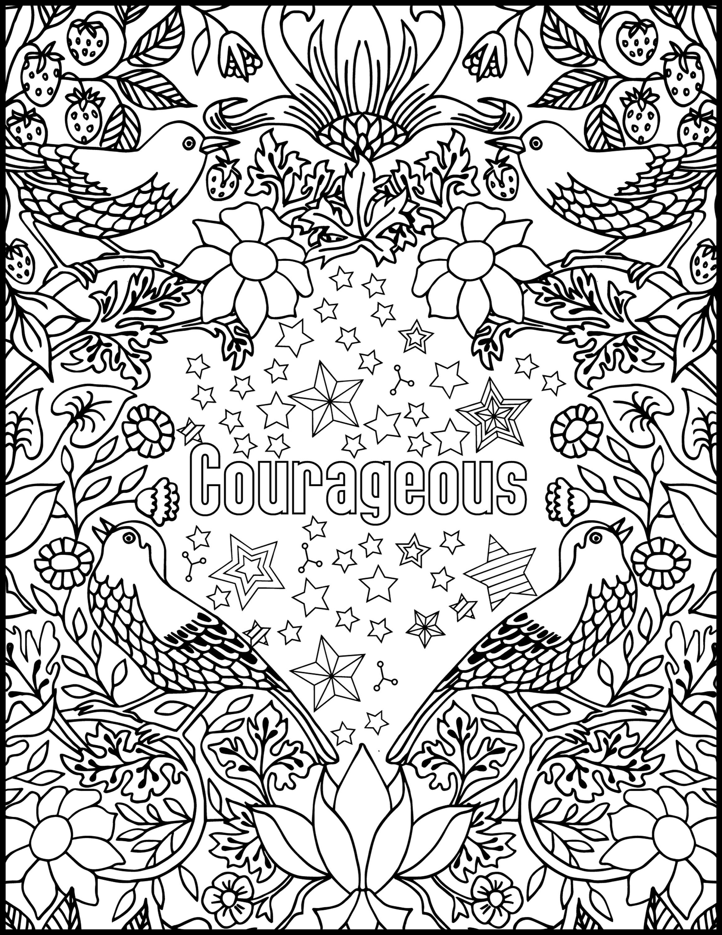 calm the f down coloring book pages Download-Courageous Positive Word Coloring Book Printable Coloring 17-j