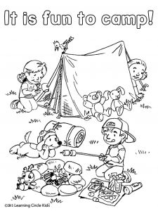 Camping Coloring Pages to Print - Printable Coloring Pages Tent Coloring Page Free Coloring and Reading Page Summer Fun Camping with Reader Bee 18p