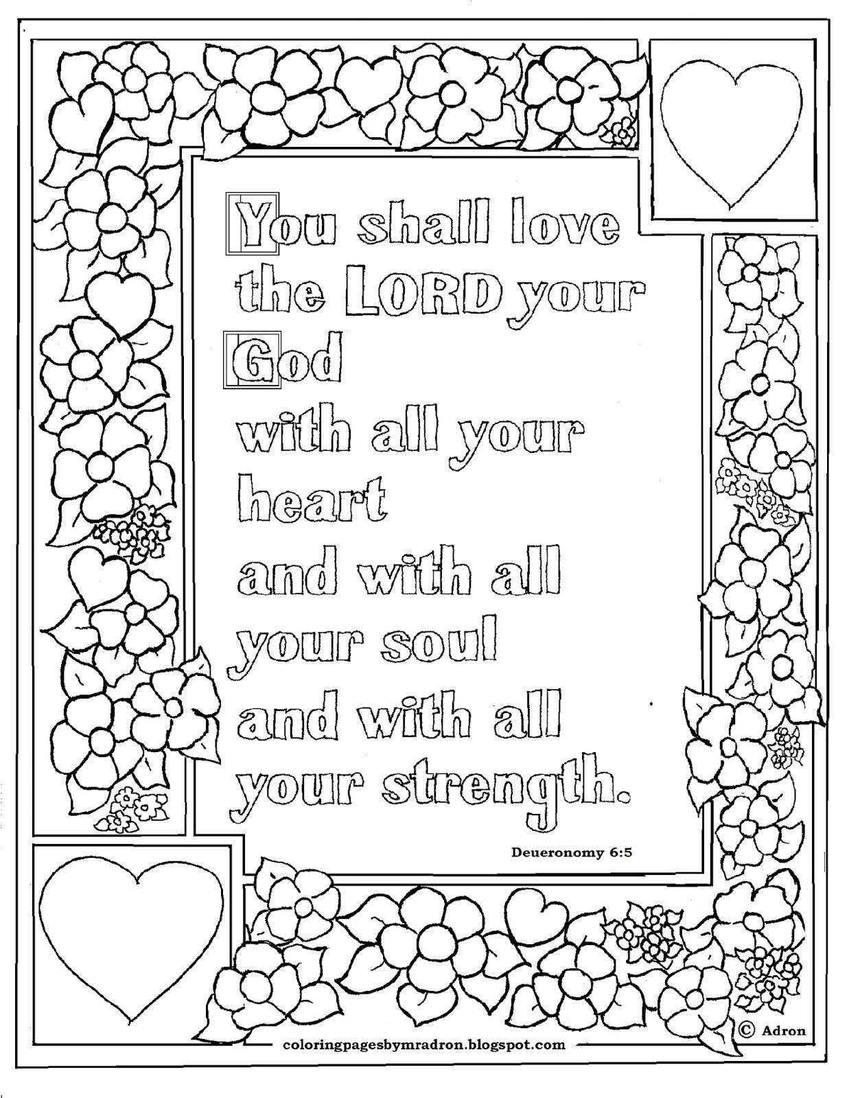 christian coloring pages with scripture Download-Deuteronomy 6 5 Bible verse to print and color This is a free printable Bible verse coloring page it is perfect for children and adults t 9-l