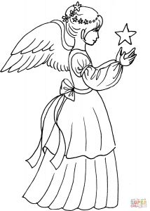 Christmas Angel Coloring Pages - 1071x1500 Christmas Angel Girl with Star Coloring Page Free Printable 20m