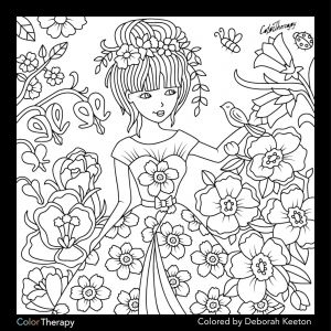 Color therapy Coloring Pages - Girl In Floral Garden 16r