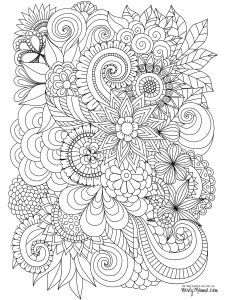 Color therapy Coloring Pages - Flowers Abstract Coloring Pages Colouring Adult Detailed Advanced 12k