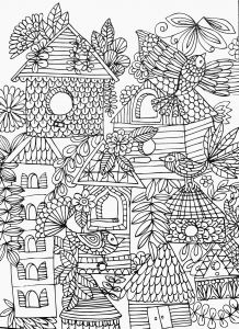 Colorama Coloring Pages to Print - Fun & Funky Birds & Birdhouses Adult Coloring Page 8e