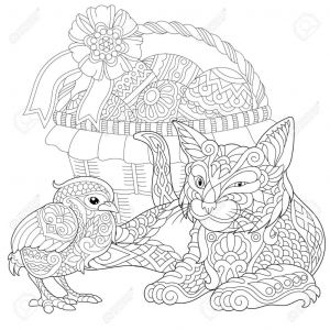 Colorama Coloring Pages to Print - Creative Ideas Cats Adult Coloring Book Cat and Baby Chicken Coloring Page Adult Coloring Book Idea 11j