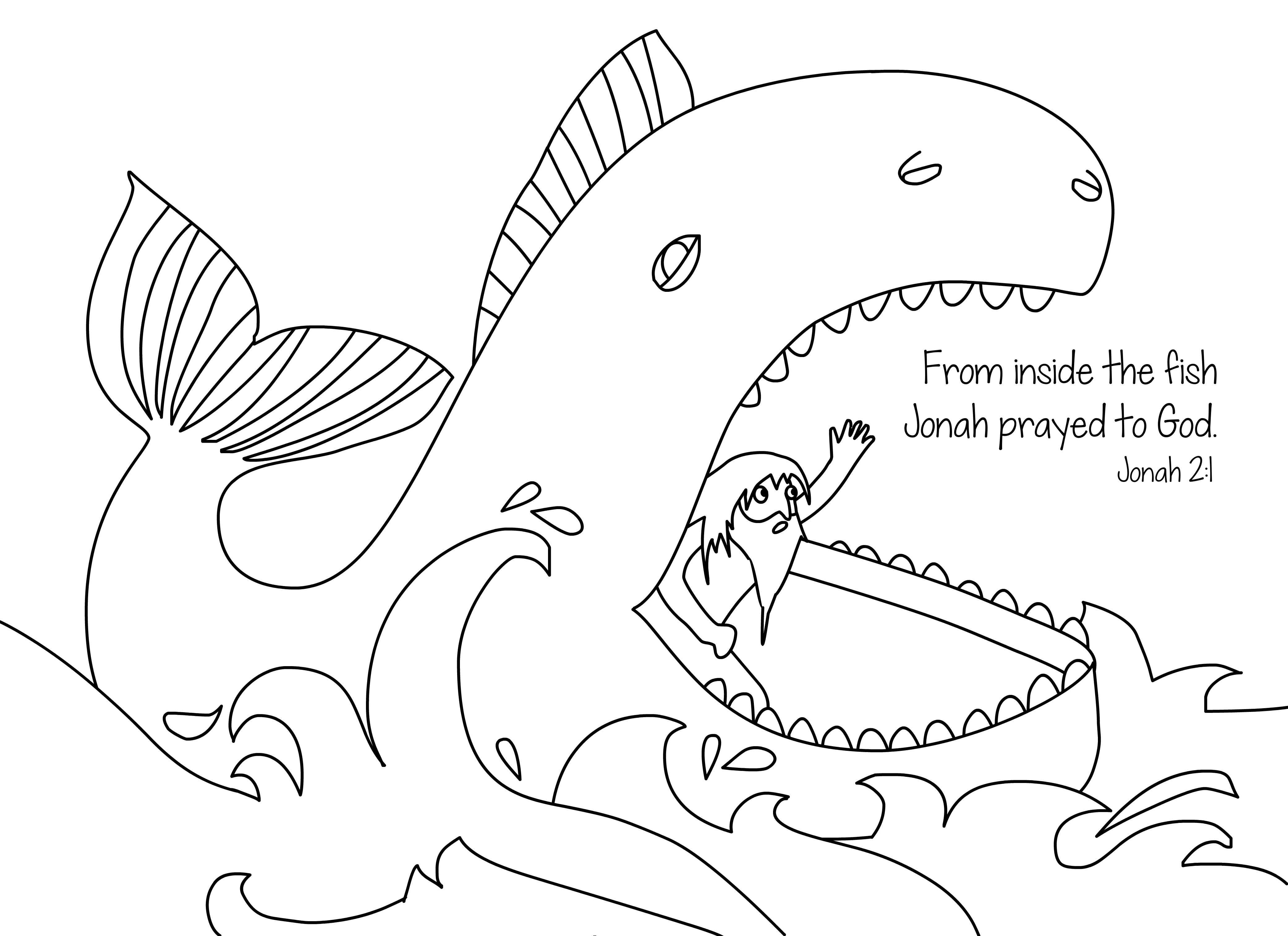 coloring pages bible stories Collection-Jonah and the whale free bible coloring page from Cullen s Abc s 2-n