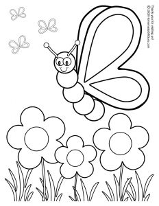 Coloring Pages butterfly - Awesome butterfly with Flowers Coloring Pages 6c