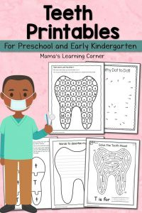 Coloring Pages Dental Health Month - Teeth Printables for Preschool and Kindergarten 7k