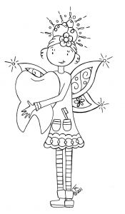 Coloring Pages Dental Health Month - Free tooth Fairy Coloring Page or Hand Embroidery Pattern 16d