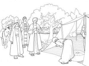 Coloring Pages for Bible Lessons - Abraham and Three Visitors Coloring Page 1n