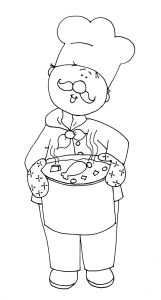 Coloring Pages for Restaurants - Chicken soup Digital Stamps Chef Embroidery Patterns Hand Embroidery Coloring 14j