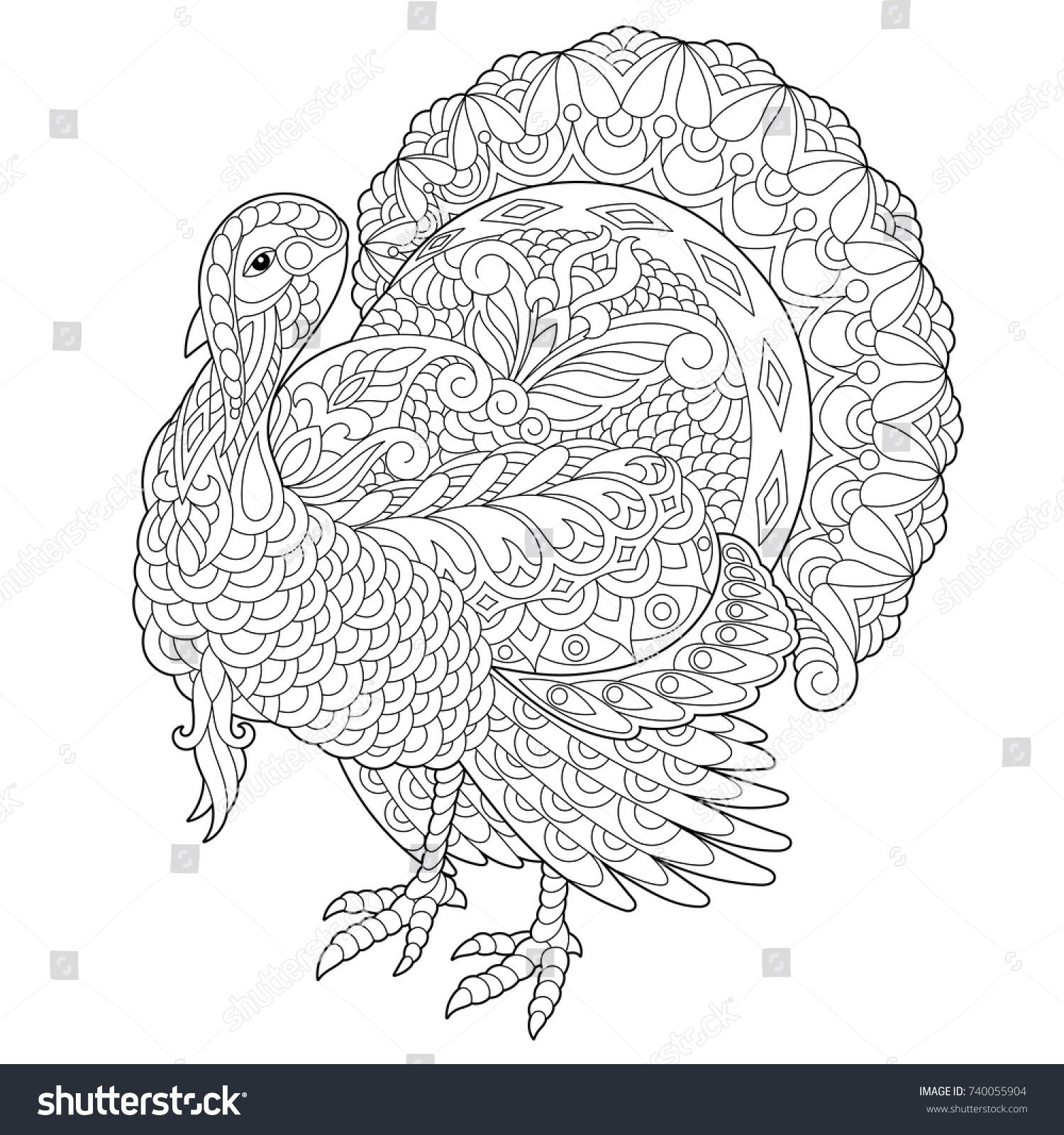 coloring pages greeting cards Download-Coloring page of turkey for Thanksgiving Day greeting card Freehand sketch drawing for adult antistress coloring book with doodle and zentangle elements 4-o